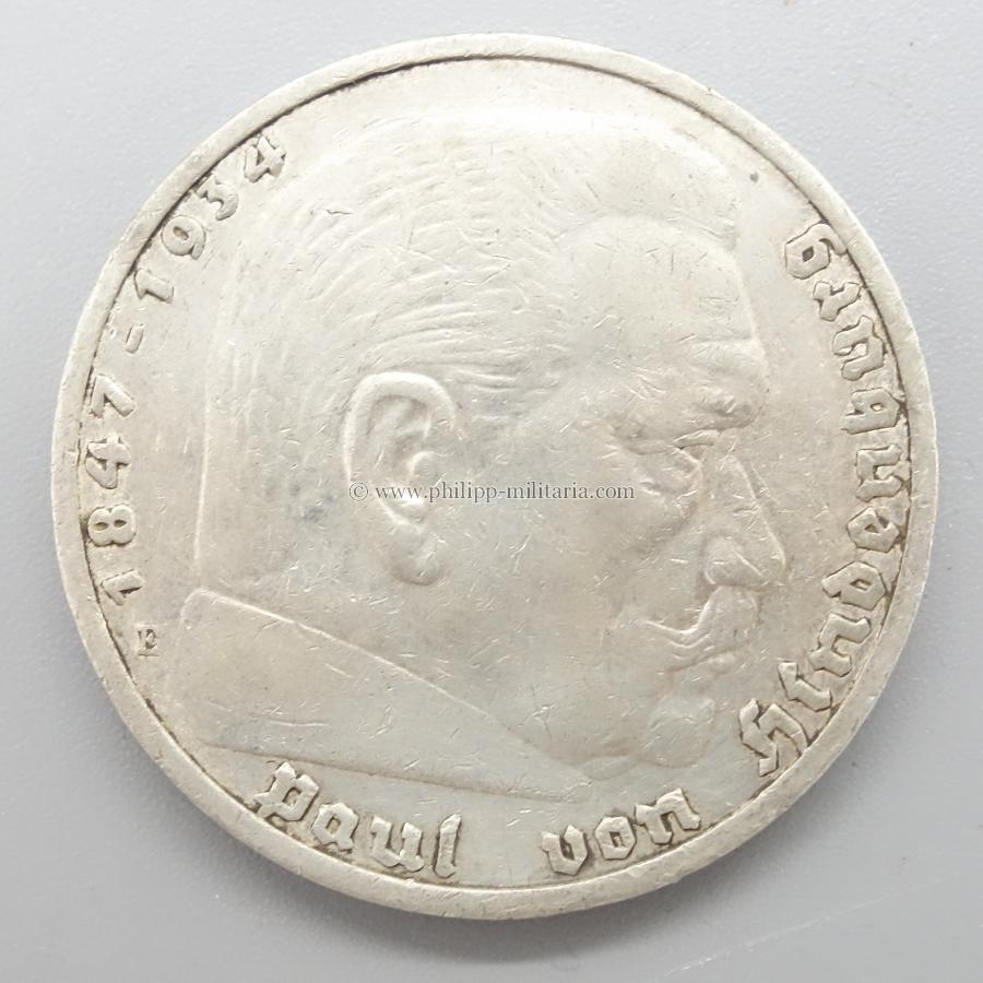 Silbermünze Iii Reich 5 Reichsmark Paul Von Hindenburg 1936