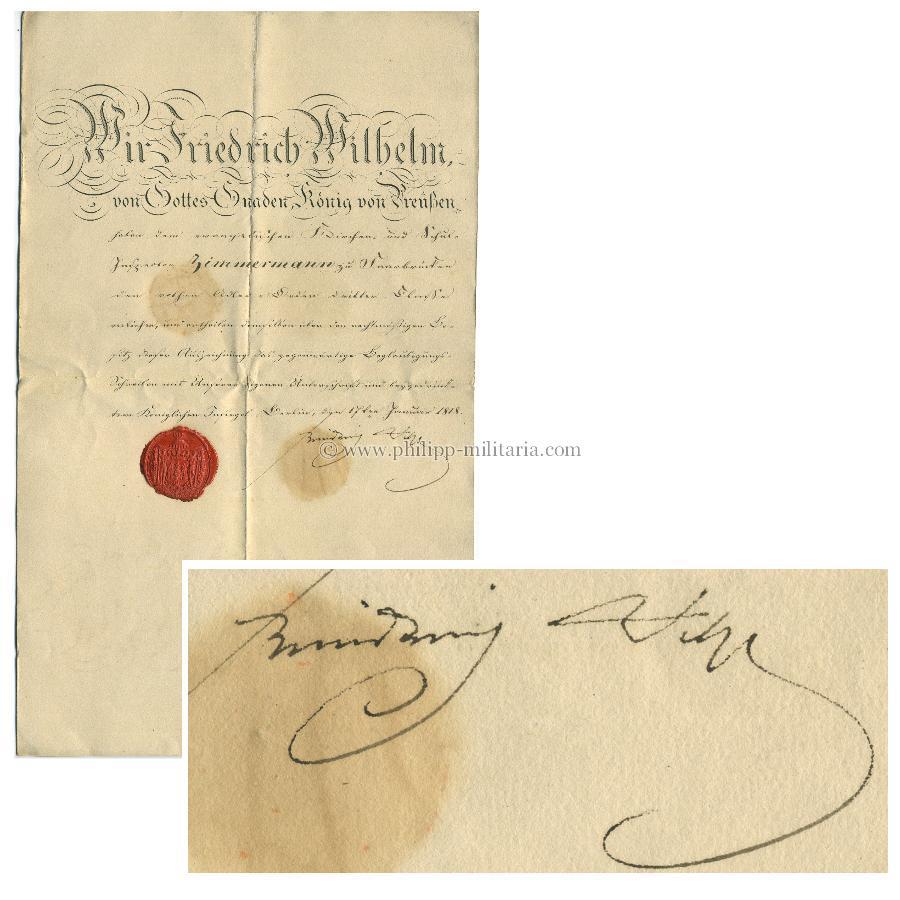 Friedrich Wilhelm Iii König Von Preussen 1770 1840 Eigenhändige
