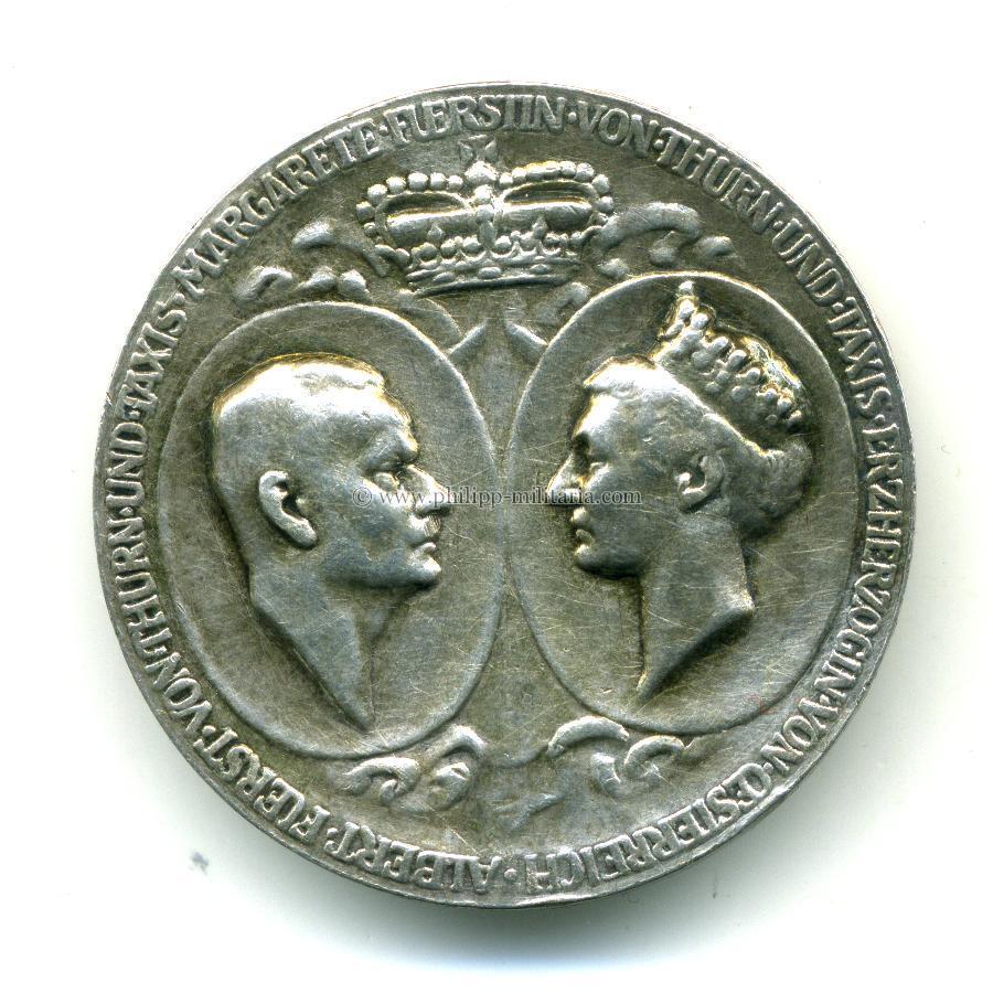 Thurn Und Taxis Medaille, Silberne Hochzeit Albert Fürst