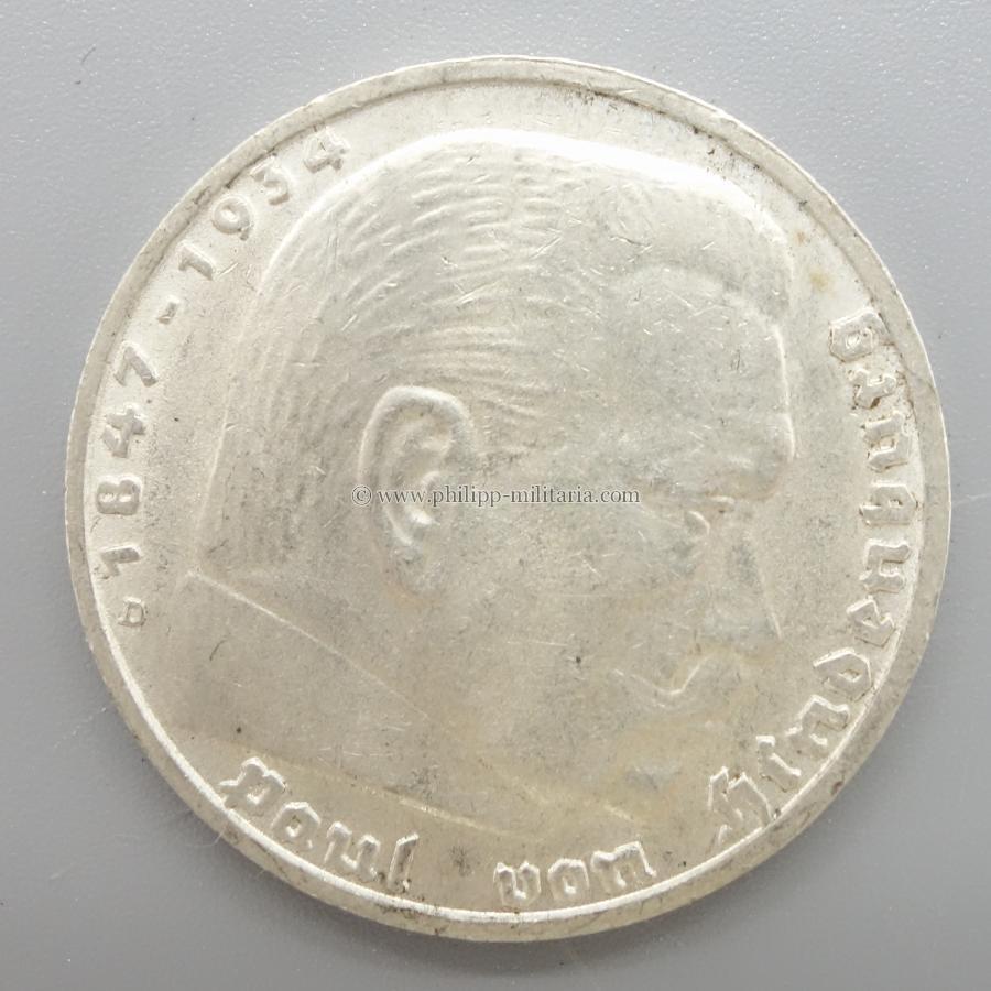 Silbermünze Iii Reich 5 Reichsmark Paul Von Hindenburg 1938