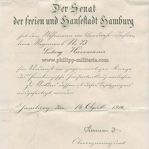 Hamburger Hanseatenkreuz - Verleihungsurkunde - Philipp Militaria ...