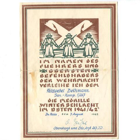 Medaille Winterschlacht im Osten (Ostmedaille) - Verleihungsurkunde ...