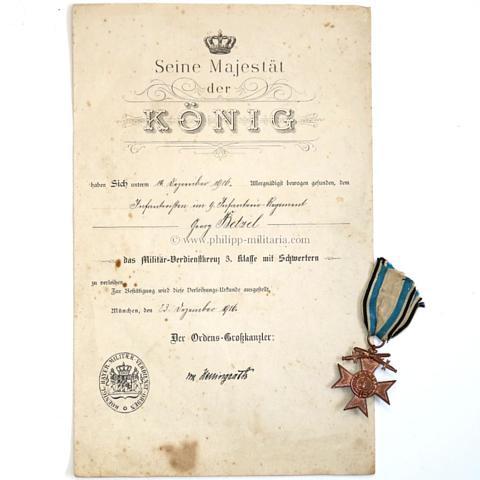 Königreich Bayern - Militär-Verdienstkreuz (MVK) 3. Klasse mit ...
