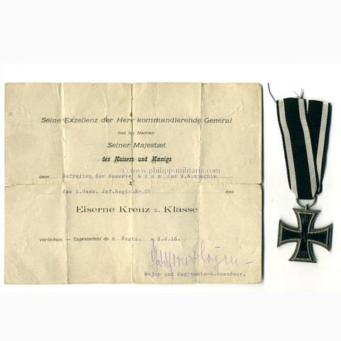 Eisernes Kreuz 2. Klasse 1914 mit Verleihungsurkunde \