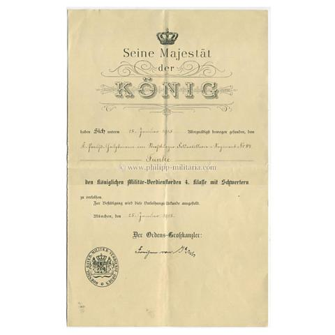 Verleihungsurkunde zum königlichen Militär-Verdienstorden 4. Klasse ...